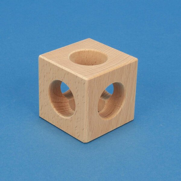 wooden cube 6 cm 3 cm 3x drilled