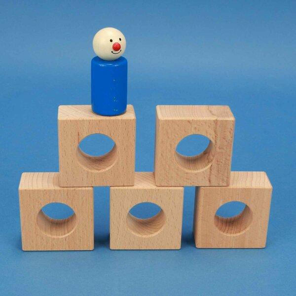 wooden block 6 x 6 x 3 cm - 3 cm drilled
