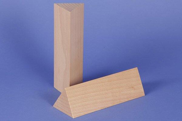 wooden triangular pillar 6 x 6 x 18 cm isosceles