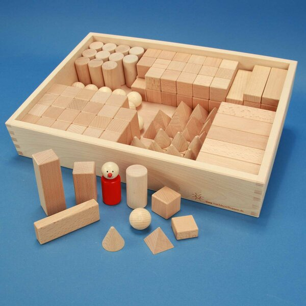 geometric solids school-class-set flat beech box laserengraved