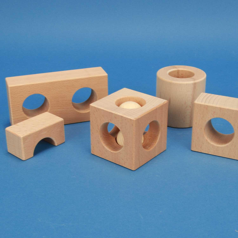 Drilled wooden blocks