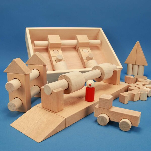 Wooden building block set « Special 57 »in a flat beechwood box