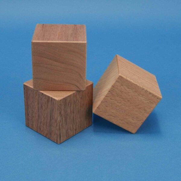 wooden cubes walnut 6 cm