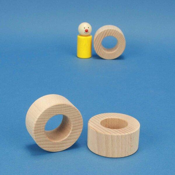wooden block round Ø 6 x 3 cm - 3 cm drilled