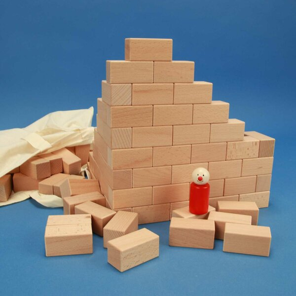 100 wooden building blocks 6 x 3 x 3 cm