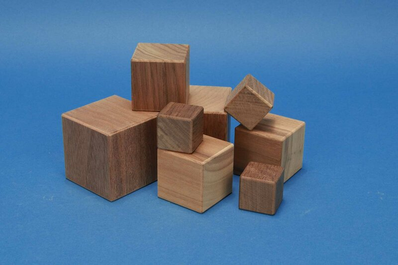 wooden cubes from walnut