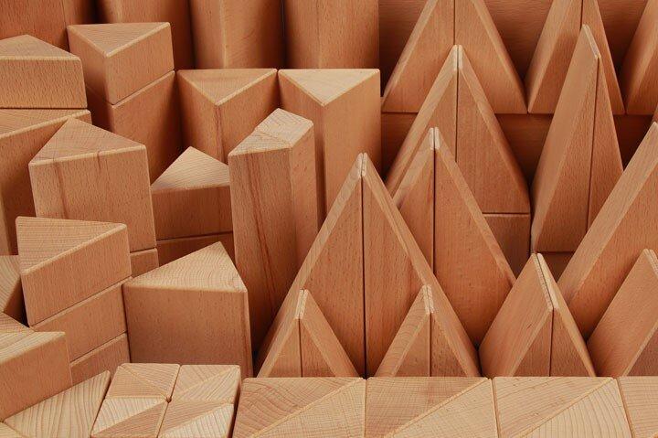 wooden blocks triangular