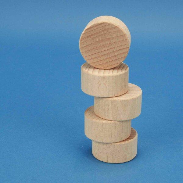 cylinder of beechwood Ø 5 x 2,5 cm