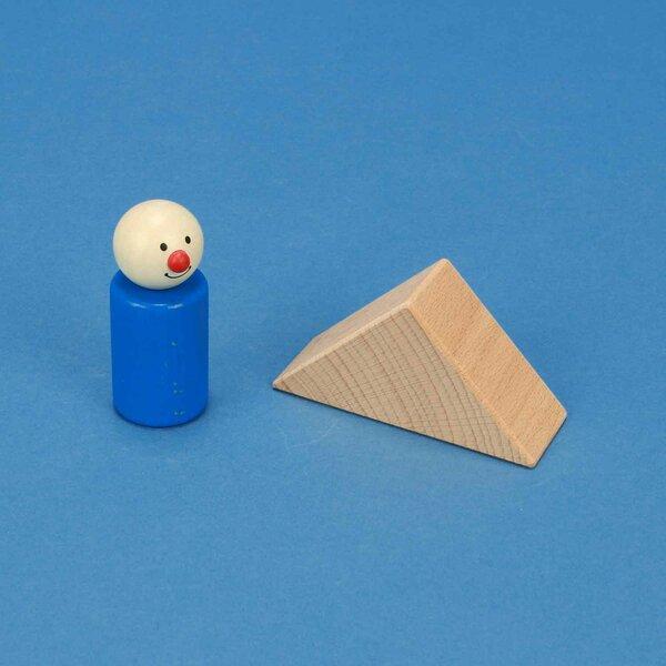 wooden triangular pillar 6 x 6 x 3 cm rectangular