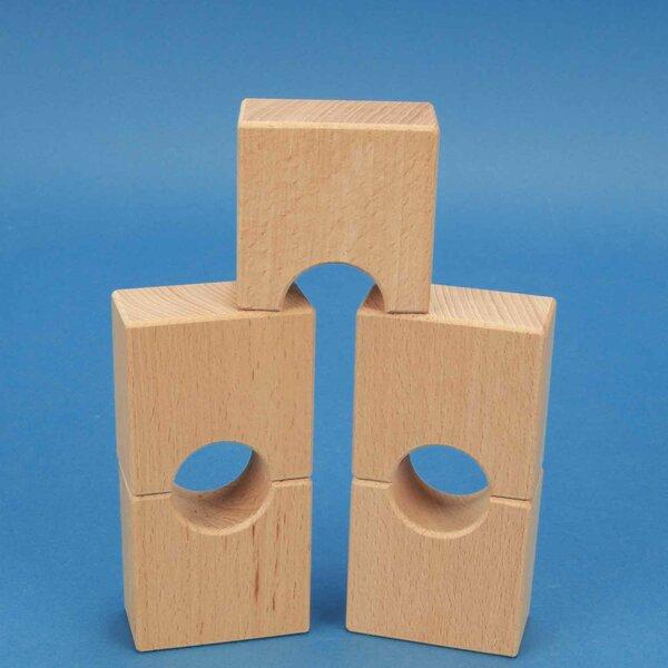 wooden block little bridge 6 x 6 x 3 cm - 3 cm halfdrilled