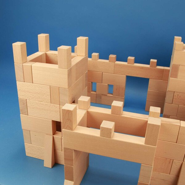 Castle made of 170 wooden blocks beech boxes laserengraved