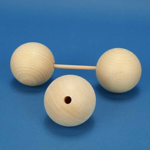 wooden balls Ø 70mm half drilled 10mm