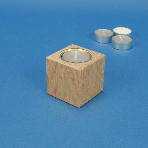 wooden candle holder 6 cm oak