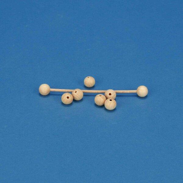 100 wooden balls beech Ø 10mm half drilled 3mm