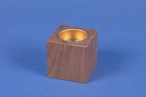 wooden candle holder 6 cm walnut