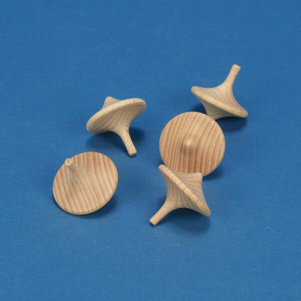 5 x Spin Top made of beechwood Ø 3,5 cm