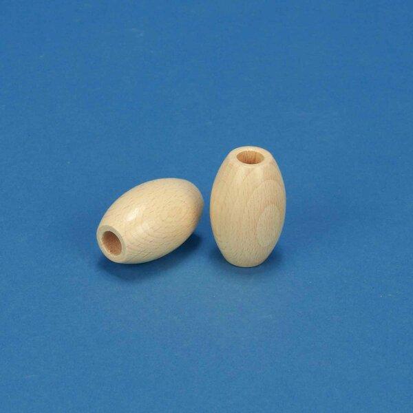 macrame wooden ball oval beech 28x44mm - 10mm drilled