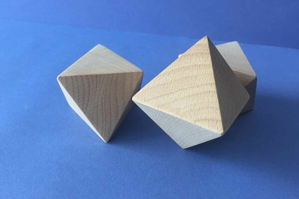 Platonic solid Octahedron made of beech 6 cm