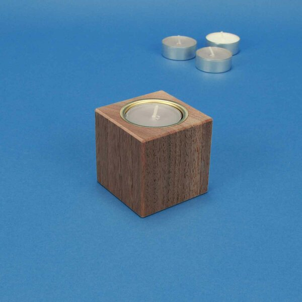 wooden candle holder 6 cm walnut