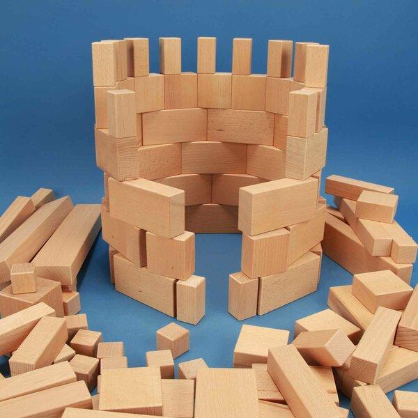 Set of 140 large wooden building blocks