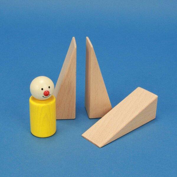 wooden wedges 9 x 3 x 3 cm triangular