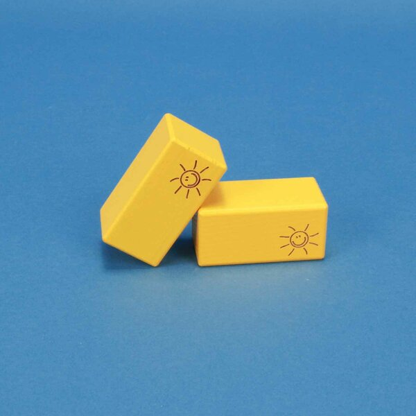 wooden blocks SMILE yellow 6 x 6 x 3 cm