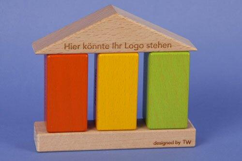 wooden building blocks orange 6 x 3 x 3 cm