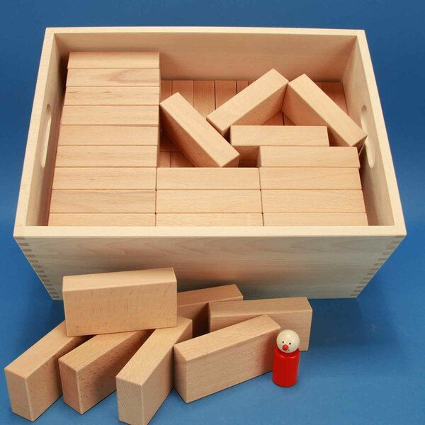 Wooden blocks set « Fröbel-Special 85 »in a large beechwood box