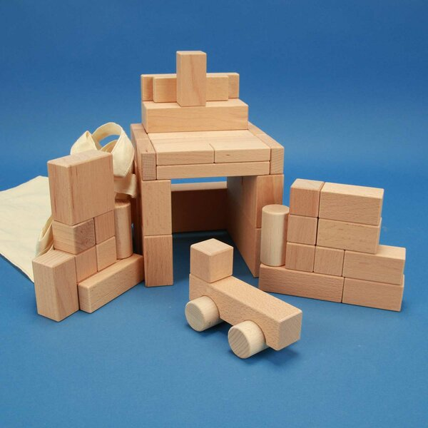 Set of 50 selected wooden blocks with Car